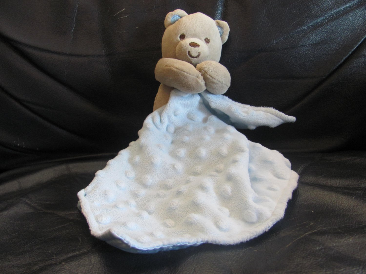 Carters Child Of Mine Teddy Rattles Blue Minky Dot Security Blanket Lovey Plush 7""