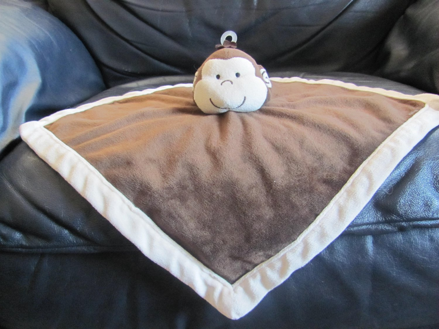 Tiddliwinks Brown Cream Microfleece Monkey Security Blanket Lovey Plush