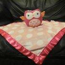 """Circo Target Hot Pink Owl White Polka Dot Pink Security Blanket Lovey Plush 13x14"""""""
