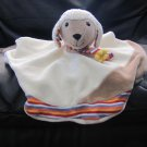 Stemtaler German Cream Bown Colorful Striped Lamb Rattle Security Blanket Lovey