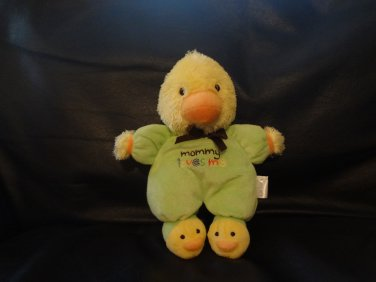 """Carters #39455 Green Footy Pajama Slippers Mommy Loves Me Yellow Duck Rattles Lovey Plush 9"""""""