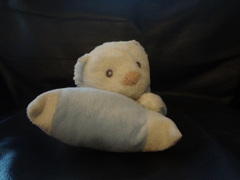 "Aurora Baby Blue White Laying Pillow Elephant Teddy Bear Lovey Plush 11"""