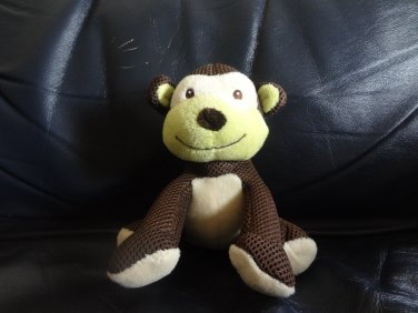 "Breathable Baby Brown Cream Green Rattles Jingles Monkey Lovey Plush 6"""