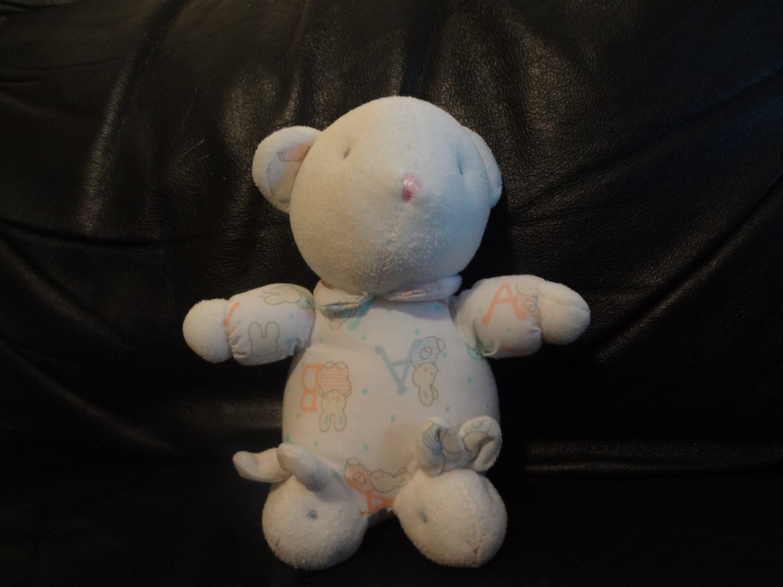 Vintage Carters A B Bunny Rabbit Footy Pajamas Slippers White Teddy Bear Rattles Jingles Lovey Plush