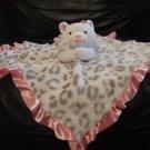 "Okie Dokie 27829 White Pink Snow Leopard Print Kitty Cat Security Blanket Lovey 13x14"""