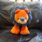 "Mary Meyer Baby Orange Blue Corduroy Plaid Footpads Green Belly Lion Lovey Plush 13"""