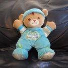 "Fisher Price Babys First Bear Blue Green Tan Teddy Bear Lovey Plush Rattles 11"""