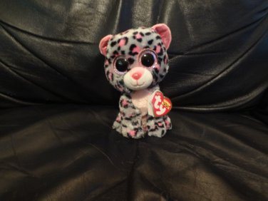 7e3a745e3fb WMT 2015 Ty Beanie Boos Tasha Small Pink Gray Leopard Kitty Cat Lovey Plush  6