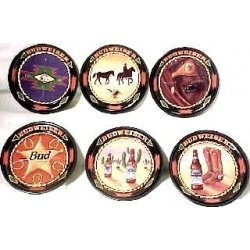 GREAT SET OF 6 COLORFUL BUDWEISER COASTERS