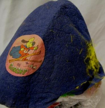 60s BLUE FELT CARNIVAL HAT UNDERDOG SKIING THE ALPS