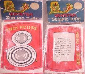 1950'S  MONSTER SUN PICTURE CAMERA CHEESY RACK TOY, MIP