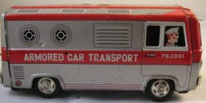OLD TIN LITHOGRAPHED ARMORED CAR TRANSPORT VAN FRICTION