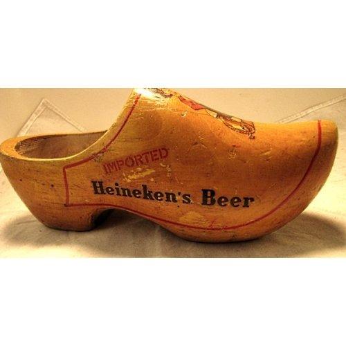 Old Imported Heineken's Beer wooden shoe advertiser all wood carved shoe