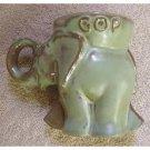1972 vintage green Frankoma G.O.P. Elephant figural-FREE USA SHIPPING!!