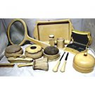 Antique cream celluloid vanity set by Ivory Du Barry Py-Ra-Lin 19 piece set.