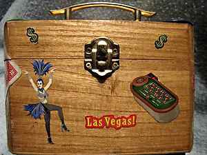 Handmade wooden gambling decorated coin box by CJ Studios artist signed w/handle