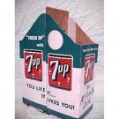 Rare  1950'S vintage 7-UP 2 bottle carton,mint unused holds 2 quart bottles each