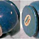 Vintage solid wooden 1 1/2 inches tall, blue colored spin top w/cord. Near mint