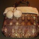 Bath & Body Works Beautiful SM Tote -NWT- Faux Fur Trim
