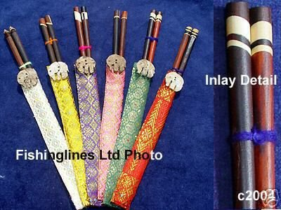 Chinese Style Hardwood Chopsticks with Wood Inlays in Silk Cases - FREE SHIPPING WORLDWIDE