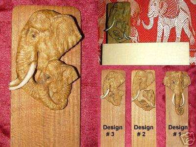 UNIQUE HANDCRAFTED TEAK BOOKMARK BULL ELEPHANTS #3 - FREE SHIPPING WORLDWIDE