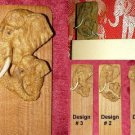 UNIQUE HANDCRAFTED TEAK BOOKMARK BULL ELEPHANTS #3 - FREE SHIPPING WORLDWIDE