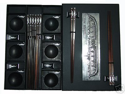 PRESENTATION EBONY ROSEWOOD CHOPSTICK SET (6 pairs of chop sticks): ROYAL BARGE CASE - FREE SHIPPING