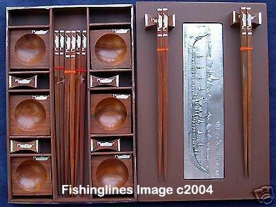 PRESENTATION NAT. ROSEWOOD Chopstick Set (6 pairs of chop sticks): ROYAL BARGE Case - FREE Shipping