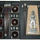 PRESENTATION EBONY ROSEWOOD CHOPSTICK SET (6 pairs of chop sticks): KHON CASE - FREE SHIPPING WWIDE