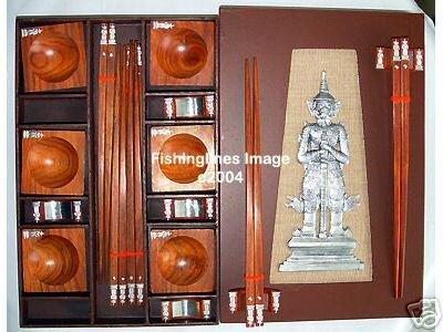 PRESENTATION NATURAL ROSEWOOD CHOPSTICK SET (6 pairs of chop sticks): KHON CASE - FREE SHIPPING