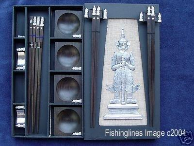 DELUXE EBONY ROSEWOOD CHOPSTICK SET (4 pairs of chop sticks): KHON CASE - FREE SHIPPING WORLDWIDE