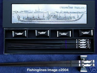 EBONY Rosewood Chopstick Set (4 pairs of chop sticks): THAI ROYAL BARGE Case - FREE WORLD Shipping