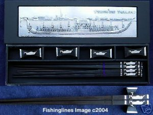 EBONY Rosewood Chopstick Set (4 pairs of chop sticks): THAI ROYAL BARGE Case - FREE WORLD Shipping