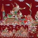 THAI SILK Large Silkscreen  Wall Hanging KINGS in BATTLE #15 Red – FREE Shipping WORLDWIDE