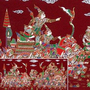 THAI SILK Large Silkscreen  Wall Hanging KINGS in BATTLE #15 Red � FREE Shipping WORLDWIDE