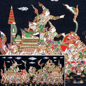THAI SILK Large Silkscreen  Wall Hanging KINGS in BATTLE #15  � FREE Shipping WORLDWIDE