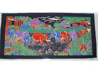 THAI SILK Large Silkscreen  Wall Hanging ELEPHANT WATERING HOLE #14 � FREE Shipping WORLDWIDE