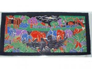 THAI SILK Large Silkscreen  Wall Hanging ELEPHANT WATERING HOLE #14 � FREE Shipping WORLDWIDE