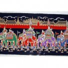 THAI SILK Large Silkscreen  Wall Hanging GRAND PALACE ELEPHANTS #11 – FREE Shipping WORLDWIDE