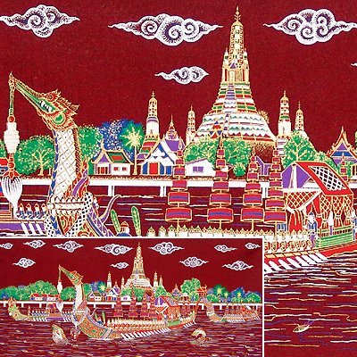 THAI SILK Large Silkscreen Wall Hanging ROYAL BARGES #10 Red � FREE Shipping WORLDWIDE