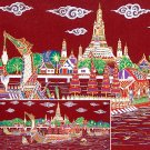 THAI SILK Large Silkscreen Wall Hanging ROYAL BARGES #10 Red – FREE Shipping WORLDWIDE