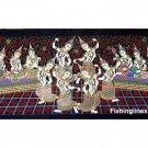 THAI SILK Large Silkscreen  Wall Hanging SIAM DANCE MUSIC GIRLS #5 – FREE Shipping WORLDWIDE