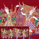 THAI SILK Large Silkscreen  Wall Hanging SIAM VILLAGE DANCERS #3 Red – FREE Shipping WORLDWIDE