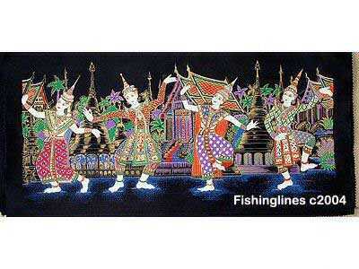 THAI SILK Large Silkscreen  Wall Hanging SIAM VILLAGE DANCERS #3 � FREE Shipping WORLDWIDE