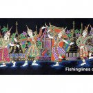 THAI SILK Large Silkscreen  Wall Hanging SIAM VILLAGE DANCERS #3 – FREE Shipping WORLDWIDE