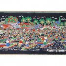 THAI SILK Large Silkscreen  Wall Hanging SIAM FLOATING MARKET #2 – FREE Shipping WORLDWIDE
