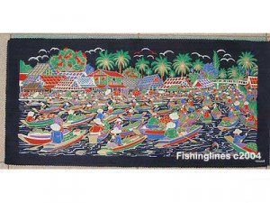 THAI SILK Large Silkscreen  Wall Hanging SIAM FLOATING MARKET #2 � FREE Shipping WORLDWIDE