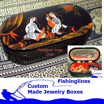 Lacquer Ware SMALL OVAL Jewelry Box with inlay Mother of Pearl � FREE Shipping WORLDWIDE