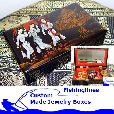 Lacquer Ware SQUARE Jewelry Box with inlay Mother of Pearl � FREE Shipping WORLDWIDE