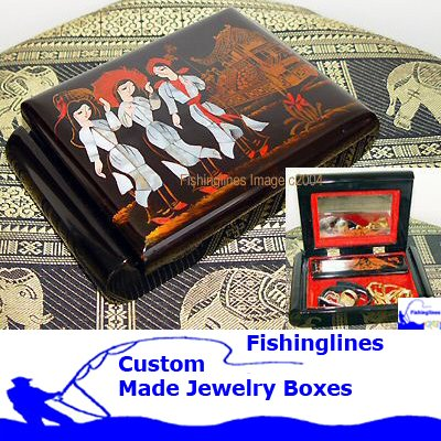 Lacquer Ware SQUARE OVAL Jewelry Box with inlay Mother of Pearl � FREE Shipping WORLDWIDE